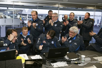 The Volkswagen team celebrates the win