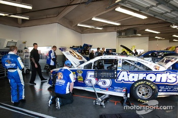 Mark Martin, Michael Waltrip Racing Toyota back in the garage after the crash