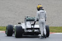 Lewis Hamilton, Mercedes AMG F1 W04 stops on the circuit
