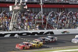 Tony Stewart leads on the final lap