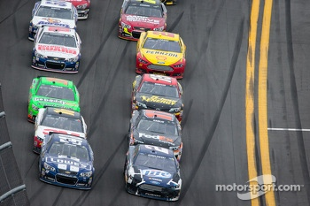 Jimmie Johnson, Hendrick Motorsports Chevrolet and Brad Keselowski, Penske Racing Ford battle for the lead