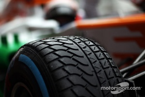 Pirelli tyre on the Sahara Force India F1 VJM06 of Paul di Resta