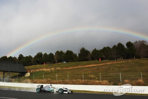 Lewis Hamilton, Mercedes AMG F1 W04 passes a rainbow