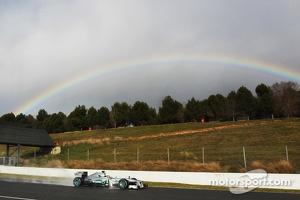 Lewis Hamilton, Mercedes AMG F1 W04 passes a rainbow