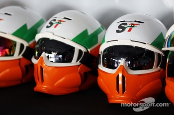 Sahara Force India F1 Team mechanics' helmets