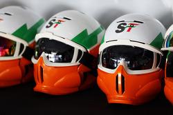Sahara Force India F1 Team mechanics' helmets