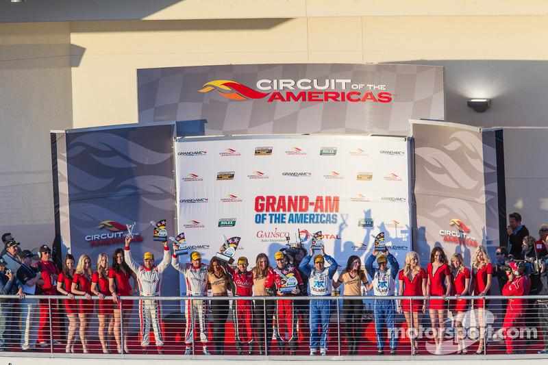 Podium: race winners Jon Fogarty, Alex Gurney, second place Ryan Dalziel, Alex Popow, third place Scott Pruett, Memo Rojas