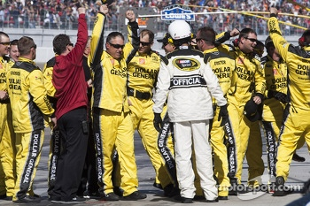 The Joe Gibbs Racing crew celebrates Matt Kenseth's win