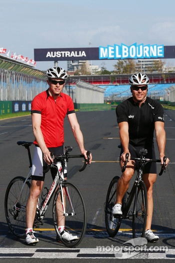 Paul di Resta, Sahara Force India F1 with Sir Chris Hoy, Olympic Track Cycling Champion