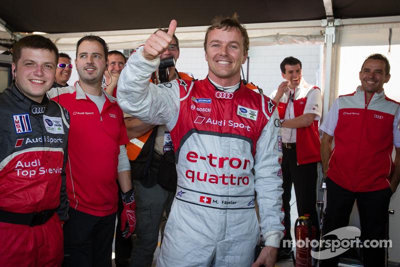 P1 and overall pole winner Marcel Fässler celebrates