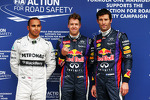 The top three qualifiers in Parc Ferme, Mercedes AMG F1, third; Sebastian Vettel, Red Bull Racing, pole position; Mark Webber, Red Bull Racing, second