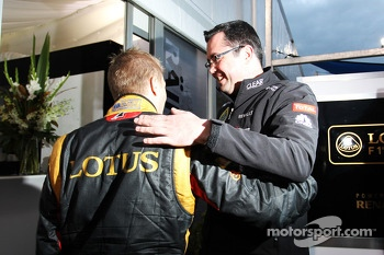 Race winner Kimi Raikkonen, Lotus F1 Team celebrates with Eric Boullier, Lotus F1 Team Principal