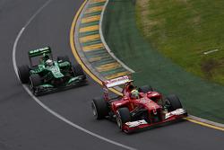 Felipe Massa, Ferrari F138 leads Giedo van der Garde, Caterham CT03