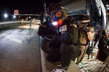 Paul Miller Racing team member ready for a pit stop