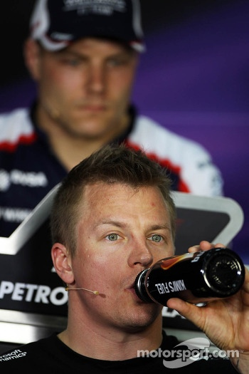 Kimi Raikkonen, Lotus F1 Team and Valtteri Bottas, Williams in the FIA Press Conference