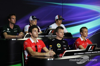 FIA Press Conference: Kimi Raikkonen, Lotus F1 Team; Valtteri Bottas, Williams; Max Chilton, Marussia F1 Team; Giedo van der Garde, Caterham F1 Team; Esteban Gutierrez, Sauber; Jules Bianchi, Marussia F1 Team