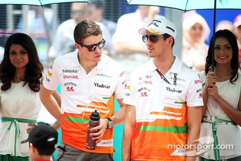 Paul di Resta, Sahara Force India F1 and Adrian Sutil, Sahara Force India F1 on the drivers parade