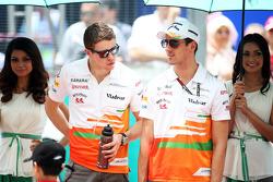 Paul di Resta, Sahara Force India F1 and Adrian Sutil, Sahara Force India F1 on the drivers parade
