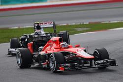 Jules Bianchi, Marussia F1 Team MR02 leads Valtteri Bottas, Williams FW35