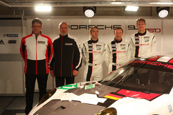 Head of Porsche Motorsport Hartmut Kristen, Olaf Manthey, Jörg Bergmeister, Patrick Pilet and Timo Bernhard with the Porsche 911 RSR