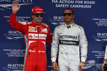 Lewis Hamilton, Mercedes AMG F1 gets pole position and Fernando Alonso, Ferrari 3rd