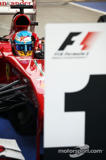 Race winner Fernando Alonso, Ferrari F138 celebrates in parc ferme