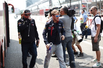 Kimi Raikkonen, Lotus F1 Team and Sebastian Vettel, Red Bull Racing on the drivers parade
