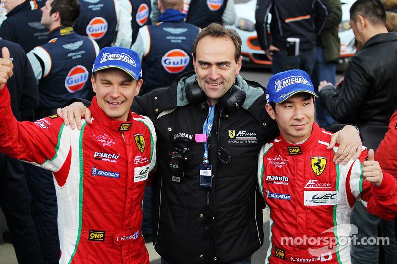 Kamui Kobayashi and Toni Vilander celebrate second place in GT with Amato Ferrari