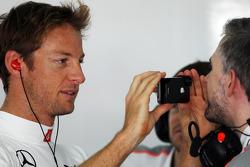 Jenson Button, McLaren with Adam Cooper, McLaren Press Officer