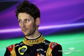 Third placed Romain Grosjean, Lotus F1 Team in the FIA Press Conference