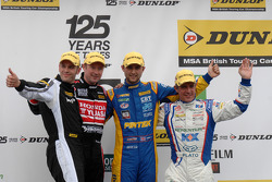 Round 5 podium 1st Andrew Jordan, 2nd Jason Plato, 3rd Gordon Shedden and JST Winner Lea Wood