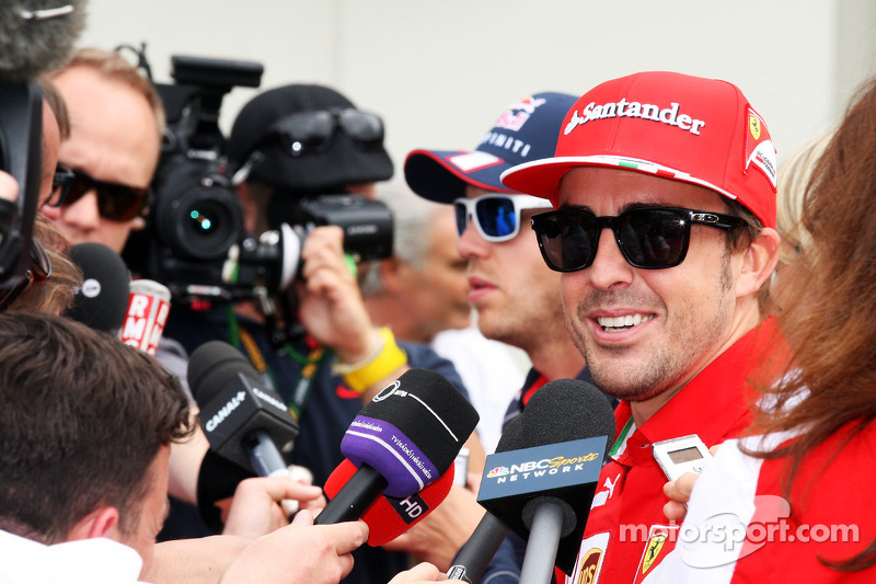 Fernando Alonso, Ferrari and Sebastian Vettel, Red Bull Racing with the media