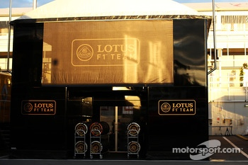 Lotus F1 Team trucks in the paddock