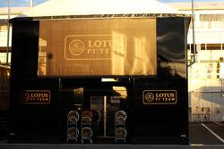 Lotus F1 Team trucks in the paddock