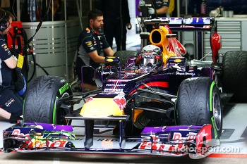 Sebastian Vettel, Red Bull Racing leaves the pits running flow-vis paint on the front wing