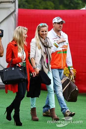 Adrian Sutil, Sahara Force India F1 with his girlfriend Jennifer Becks,