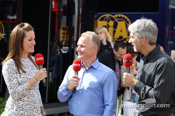 (L to R): Natalie Pinkham, Sky Sports Presenter with Johnny Herbert, Sky Sports Presenter and Damon Hill, Sky Sports Presenter
