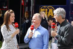 (L to R): Natalie Pinkham, Sky Sports Presenter with Johnny Herbert, Sky Sports Presenter and Damon Hill, Sky Sports Presenter
