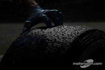 Pirelli tyre being washed
