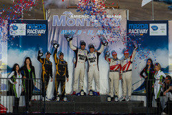 P1 class podium: winners Lucas Luhr and Klaus Graf, second place Neel Jani and Nick Heidfeld, third place Katherine Legge and Andy Meyrick