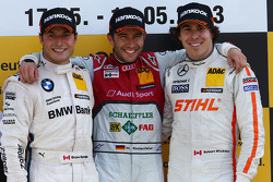 Podium: race winner Mike Rockenfeller, Audi Sport Team Phoenix Audi RS 5 DTM, second place Bruno Spengler, BMW Team Schnitzer BMW M3 DTM, third place Robert Wickens, Mercedes AMG DTM , DTM Mercedes AMG C-Coupe