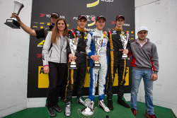 German F3 podium with Cyndie Allemann and Laurens Vanthoor as trophy presenters
