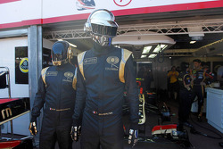 Daft Punk in the Lotus F1 garage area