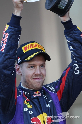 Sebastian Vettel, Red Bull Racing celebrates his second position on the podium