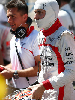 Jules Bianchi, Marussia F1 Team on the grid as the race is stopped