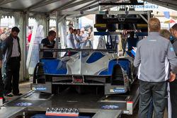 #47 KCMG Morgan LMP2 Nissan in Scrutineering tent