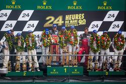 LMP1 podium: class and overall winners Tom Kristensen, Allan McNish, Loic Duval, second place Anthony Davidson, Stéphane Sarrazin, Sebastien Buemi, third place Marc Gene, Oliver Jarvis, Lucas di Grassi