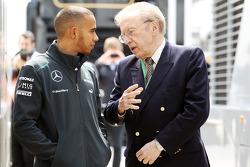 Lewis Hamilton, Mercedes AMG F1 with Sir David Frost (GBR).