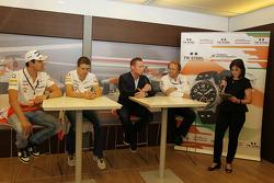 Jordy Cobelens, CEO TW Steel; Robert Fernley, Sahara Force India F1 Team Deputy Team Principal; Lee McKenzie, BBC Television Reporter at a TW Steel media call.