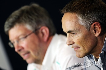 Martin Whitmarsh, McLaren Chief Executive Officer and Ross Brawn, Mercedes AMG F1 Team Principal in the FIA Press Conference